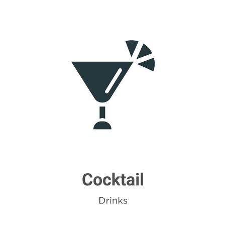 Cocktail vector icon on white background. Flat vector cocktail icon symbol sign from modern drinks collection for mobile concept and web apps design.