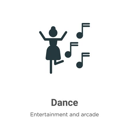 Dance vector icon on white background. Flat vector dance icon symbol sign from modern entertainment and arcade collection for mobile concept and web apps design. 向量圖像