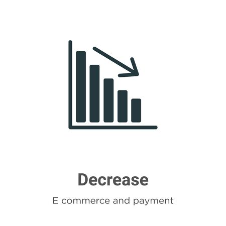 Decrease vector icon on white background. Flat vector decrease icon symbol sign from modern e commerce and payment collection for mobile concept and web apps design.