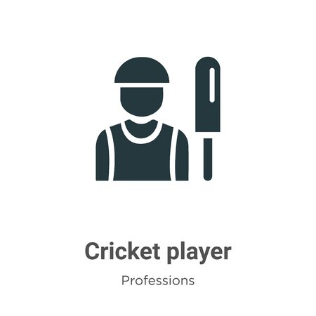 Cricket player vector icon on white background. Flat vector cricket player icon symbol sign from modern professions collection for mobile concept and web apps design.