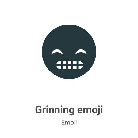 Grinning emoji vector icon on white background. Flat vector grinning emoji icon symbol sign from modern emoji collection for mobile concept and web apps design. Иллюстрация