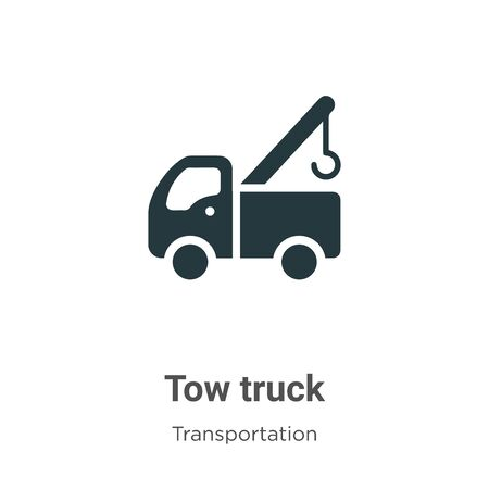 Tow truck vector icon on white background. Flat vector tow truck icon symbol sign from modern transportation collection for mobile concept and web apps design. Illustration