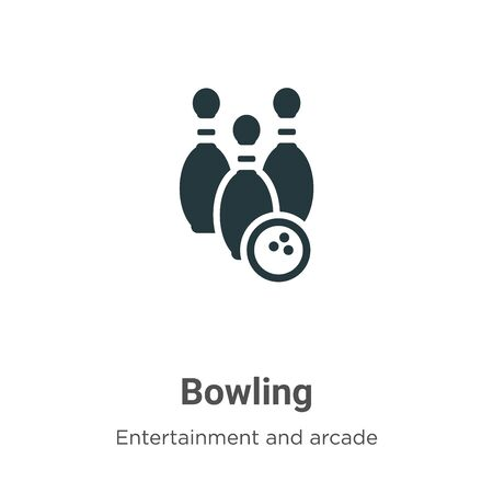 Bowling vector icon on white background. Flat vector bowling icon symbol sign from modern entertainment and arcade collection for mobile concept and web apps design. Ilustração