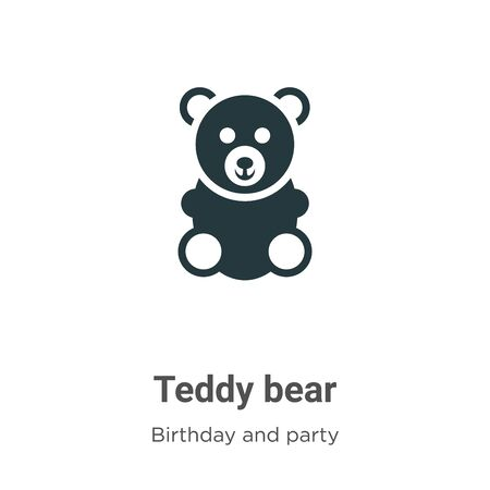 Teddy bear vector icon on white background. Flat vector teddy bear icon symbol sign from modern birthday and party collection for mobile concept and web apps design.
