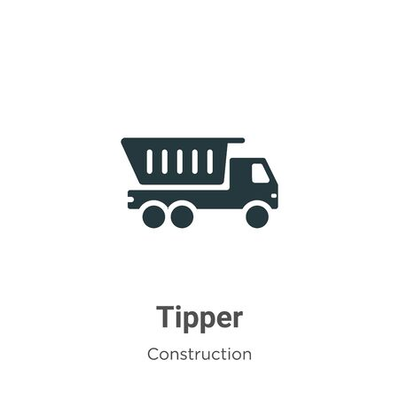 Tipper vector icon on white background. Flat vector tipper icon symbol sign from modern construction collection for mobile concept and web apps design.