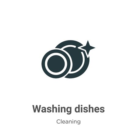 Washing dishes vector icon on white background. Flat vector washing dishes icon symbol sign from modern cleaning collection for mobile concept and web apps design.