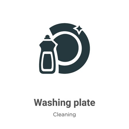 Washing plate vector icon on white background. Flat vector washing plate icon symbol sign from modern cleaning collection for mobile concept and web apps design.