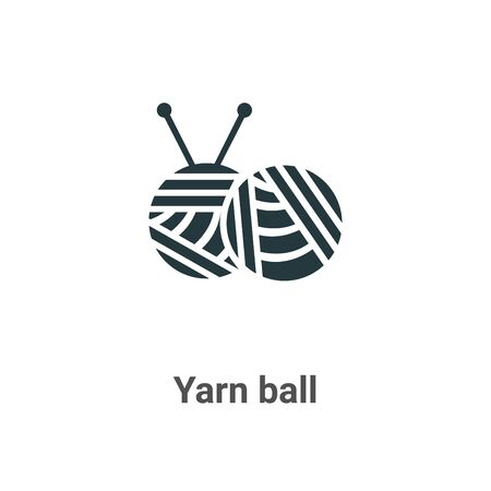 Yarn ball vector icon on white background. Flat vector yarn ball icon symbol sign from modern sew collection for mobile concept and web apps design. Ilustração