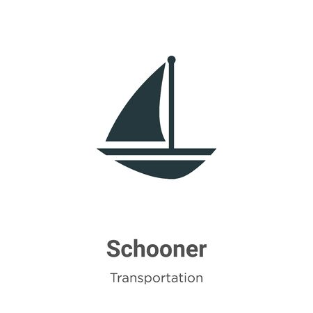 Schooner vector icon on white background. Flat vector schooner icon symbol sign from modern transportation collection for mobile concept and web apps design.