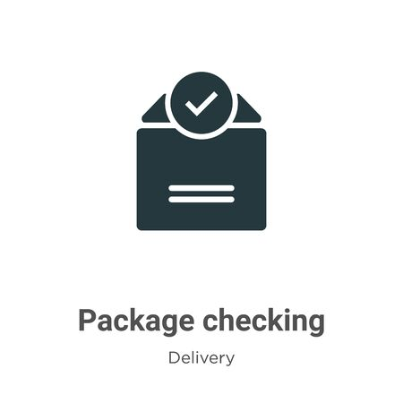 Package checking vector icon on white background. Flat vector package checking icon symbol sign from modern delivery collection for mobile concept and web apps design.