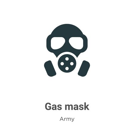 Gas mask vector icon on white background. Flat vector gas mask icon symbol sign from modern army collection for mobile concept and web apps design. Ilustração