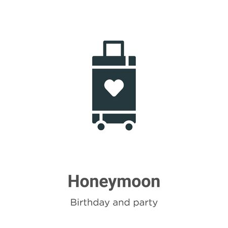 Honeymoon vector icon on white background. Flat vector honeymoon icon symbol sign from modern birthday and party collection for mobile concept and web apps design. Ilustração