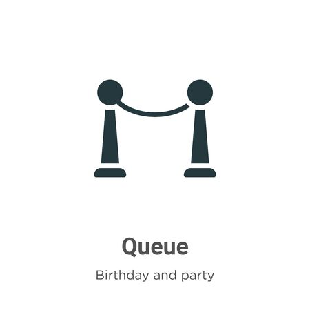 Queue vector icon on white background. Flat vector queue icon symbol sign from modern birthday and party collection for mobile concept and web apps design.