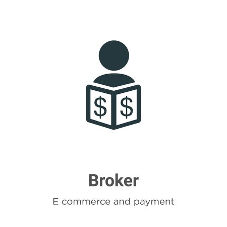 Broker vector icon on white background. Flat vector broker icon symbol sign from modern e commerce and payment collection for mobile concept and web apps design.