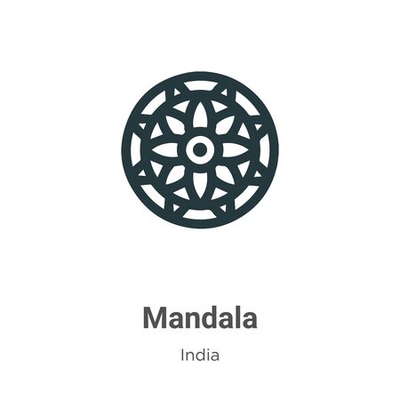 Mandala vector icon on white background. Flat vector mandala icon symbol sign from modern india collection for mobile concept and web apps design.