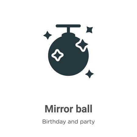 Mirror ball vector icon on white background. Flat vector mirror ball icon symbol sign from modern birthday and party collection for mobile concept and web apps design.