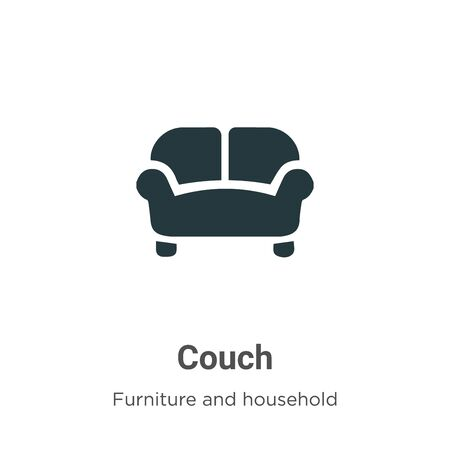 Couch vector icon on white background. Flat vector couch icon symbol sign from modern furniture and household collection for mobile concept and web apps design.