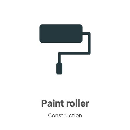 Paint roller vector icon on white background. Flat vector paint roller icon symbol sign from modern construction collection for mobile concept and web apps design.