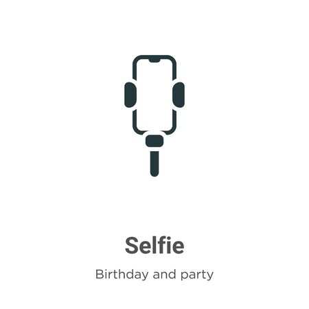 Selfie vector icon on white background. Flat vector selfie icon symbol sign from modern birthday and party collection for mobile concept and web apps design.