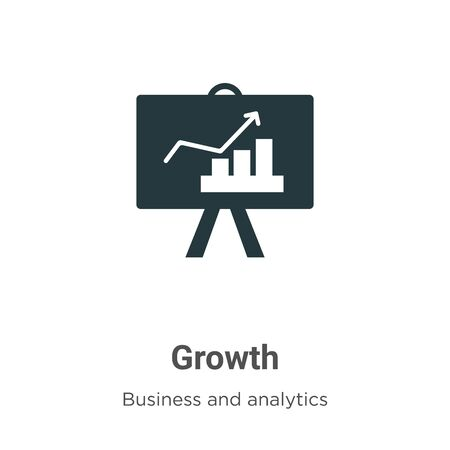 Growth vector icon on white background. Flat vector growth icon symbol sign from modern business and analytics collection for mobile concept and web apps design. Ilustração