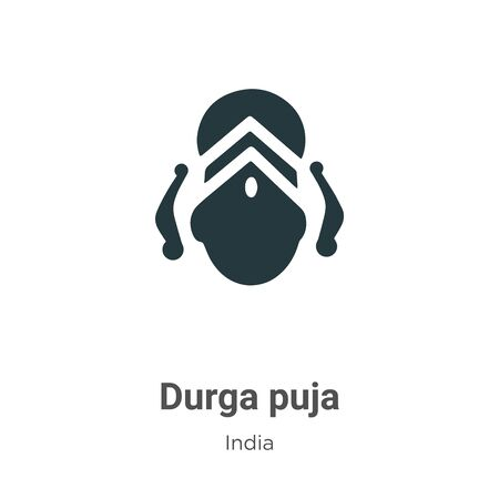 Durga puja vector icon on white background. Flat vector durga puja icon symbol sign from modern india collection for mobile concept and web apps design. Ilustração