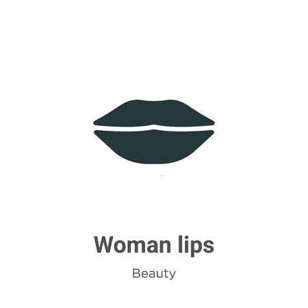 Woman lips vector icon on white background. Flat vector woman lips icon symbol sign from modern beauty collection for mobile concept and web apps design. Ilustração