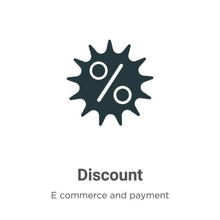 Discount vector icon on white background. Flat vector discount icon symbol sign from modern e commerce and payment collection for mobile concept and web apps design.