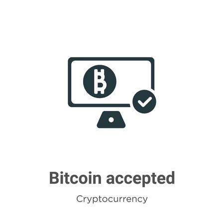 Bitcoin accepted vector icon on white background. Flat vector bitcoin accepted icon symbol sign from modern cryptocurrency collection for mobile concept and web apps design.