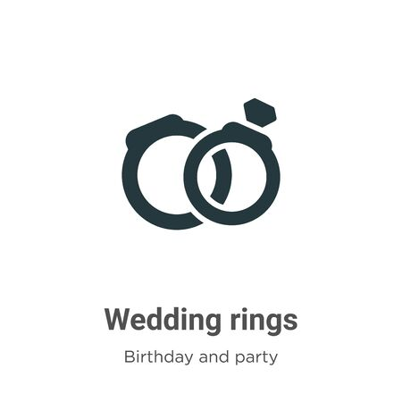 Wedding rings vector icon on white background. Flat vector wedding rings icon symbol sign from modern birthday and party collection for mobile concept and web apps design. Ilustração