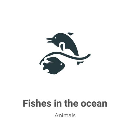 Fishes in the ocean vector icon on white background. Flat vector fishes in the ocean icon symbol sign from modern animals collection for mobile concept and web apps design. Vettoriali