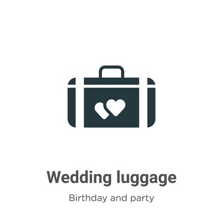 Wedding luggage vector icon on white background. Flat vector wedding luggage icon symbol sign from modern birthday and party collection for mobile concept and web apps design. Vettoriali