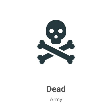 Dead vector icon on white background. Flat vector dead icon symbol sign from modern army collection for mobile concept and web apps design. Vettoriali