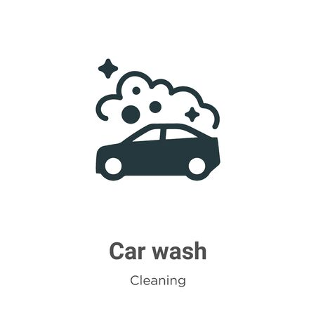 Car wash vector icon on white background. Flat vector car wash icon symbol sign from modern cleaning collection for mobile concept and web apps design. Vettoriali