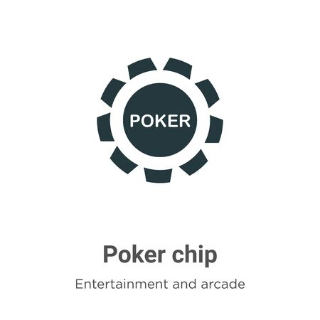 Poker chip vector icon on white background. Flat vector poker chip icon symbol sign from modern entertainment and arcade collection for mobile concept and web apps design. Vettoriali
