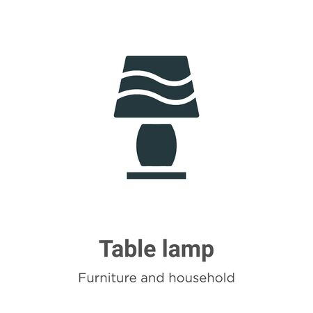 Table lamp vector icon on white background. Flat vector table lamp icon symbol sign from modern furniture and household collection for mobile concept and web apps design. Vettoriali