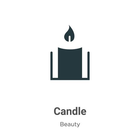 Candle vector icon on white background. Flat vector candle icon symbol sign from modern beauty collection for mobile concept and web apps design. Vettoriali