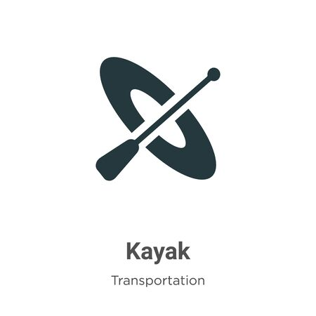 Kayak vector icon on white background. Flat vector kayak icon symbol sign from modern transportation collection for mobile concept and web apps design. Archivio Fotografico - 142529516