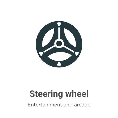 Steering wheel vector icon on white background. Flat vector steering wheel icon symbol sign from modern entertainment and arcade collection for mobile concept and web apps design. Vettoriali