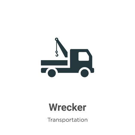 Wrecker vector icon on white background. Flat vector wrecker icon symbol sign from modern transportation collection for mobile concept and web apps design. Archivio Fotografico - 142529568