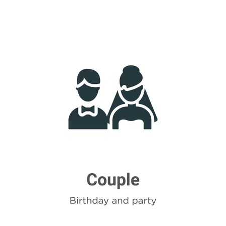 Couple vector icon on white background. Flat vector couple icon symbol sign from modern birthday and party collection for mobile concept and web apps design. Vettoriali