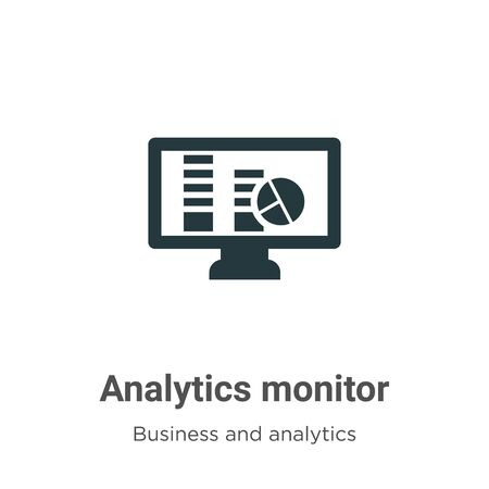 Analytics monitor vector icon on white background. Flat vector analytics monitor icon symbol sign from modern business and analytics collection for mobile concept and web apps design. Archivio Fotografico - 142529591