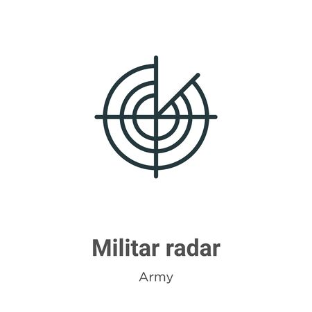 Militar radar vector icon on white background. Flat vector militar radar icon symbol sign from modern army collection for mobile concept and web apps design. Vettoriali