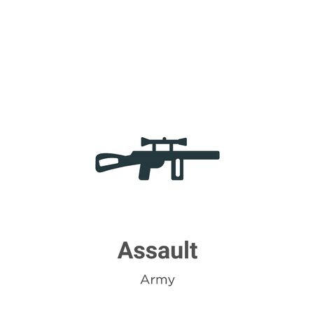 Assault vector icon on white background. Flat vector assault icon symbol sign from modern army collection for mobile concept and web apps design. Vettoriali