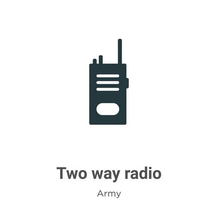 Two way radio vector icon on white background. Flat vector two way radio icon symbol sign from modern army collection for mobile concept and web apps design.