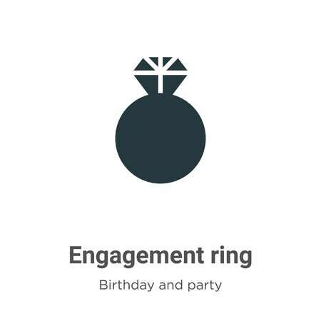 Engagement ring vector icon on white background. Flat vector engagement ring icon symbol sign from modern birthday and party collection for mobile concept and web apps design.  イラスト・ベクター素材