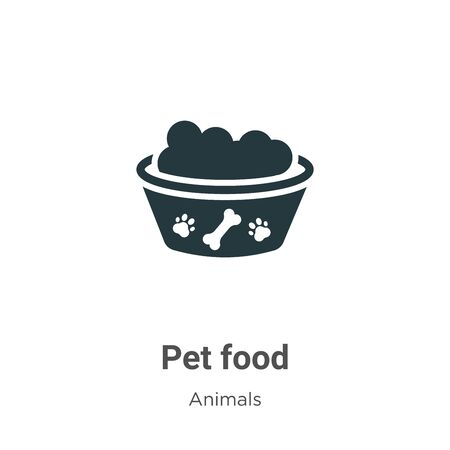Pet food vector icon on white background. Flat vector pet food icon symbol sign from modern animals collection for mobile concept and web apps design. Archivio Fotografico - 142477635