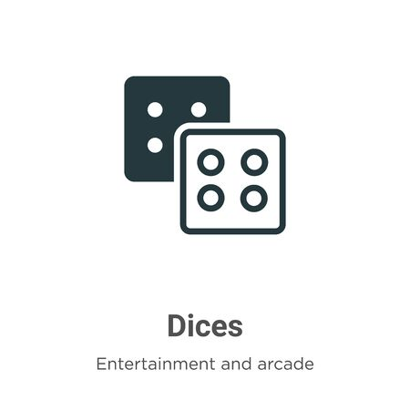 Dices vector icon on white background. Flat vector dices icon symbol sign from modern entertainment and arcade collection for mobile concept and web apps design.