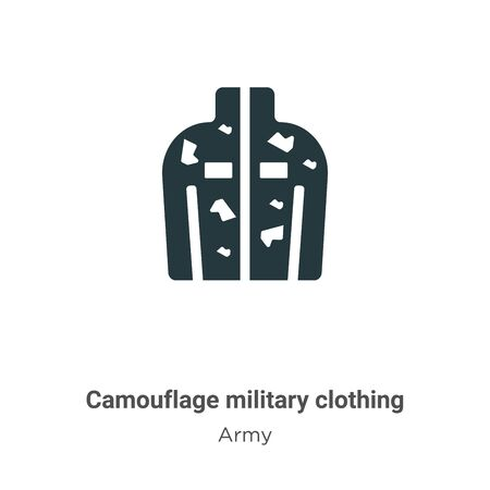 Camouflage military clothing vector icon on white background. Flat vector camouflage military clothing icon symbol sign from modern army collection for mobile concept and web apps design. Vettoriali