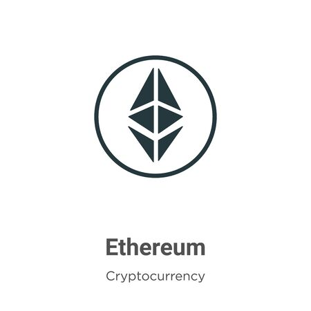 Ethereum vector icon on white background. Flat vector ethereum icon symbol sign from modern cryptocurrency collection for mobile concept and web apps design.