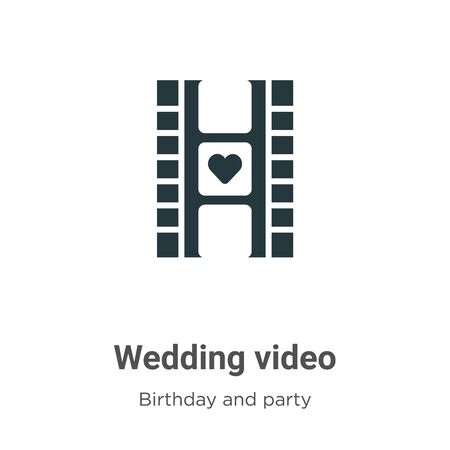 Wedding video vector icon on white background. Flat vector wedding video icon symbol sign from modern birthday and party collection for mobile concept and web apps design.